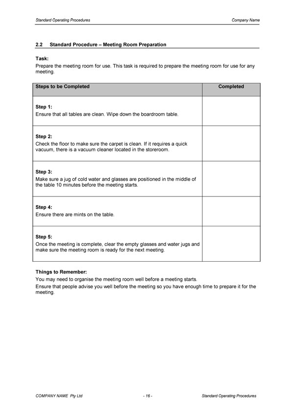 Standard Operating Procedure Template | Digital Documents Direct