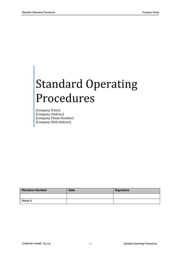 Standard Operating Procedures Cover Page  Business Manual Templates