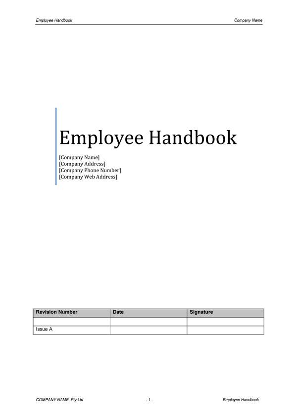 employee handbook template .