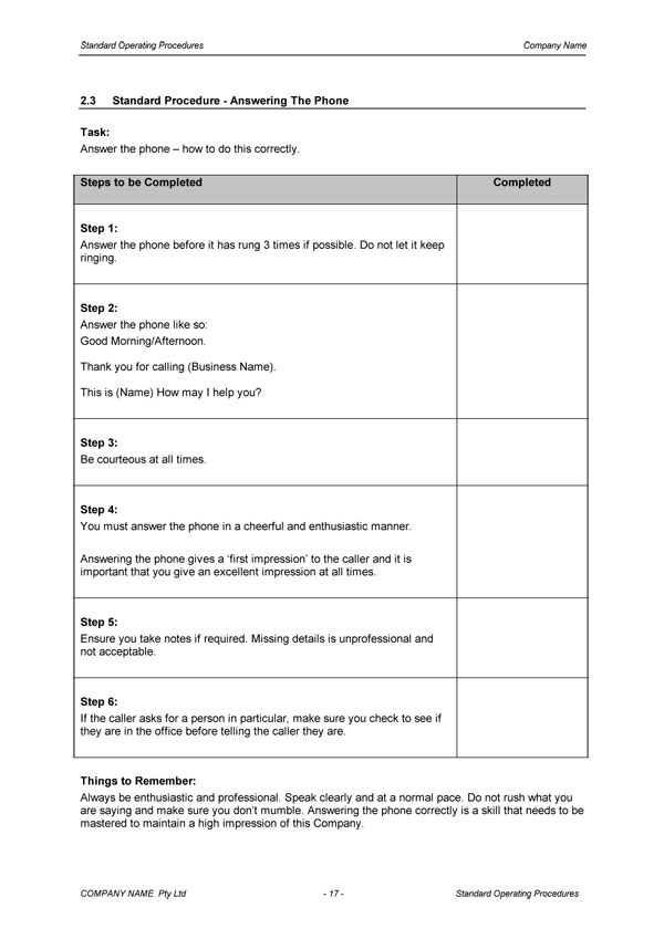 standard operating procedure template