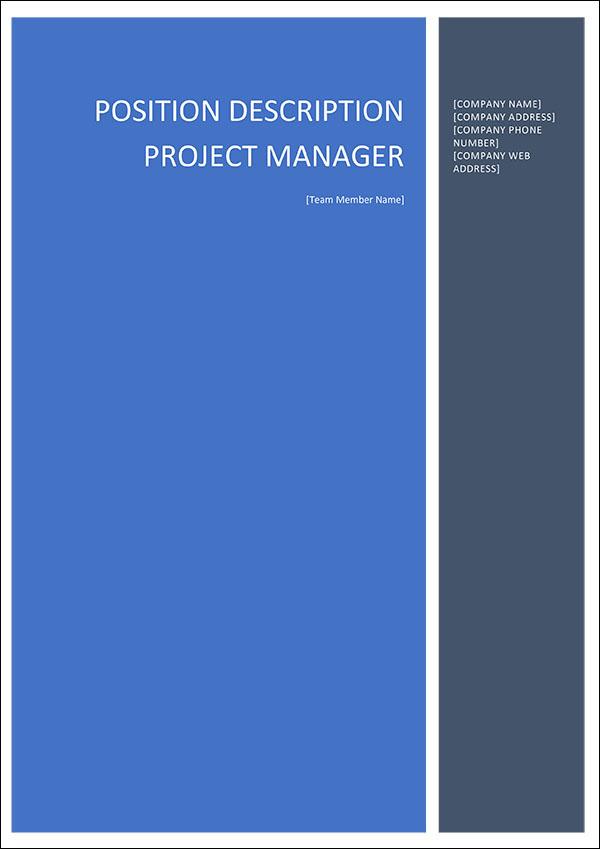 Project Manager Position Description Cover Page