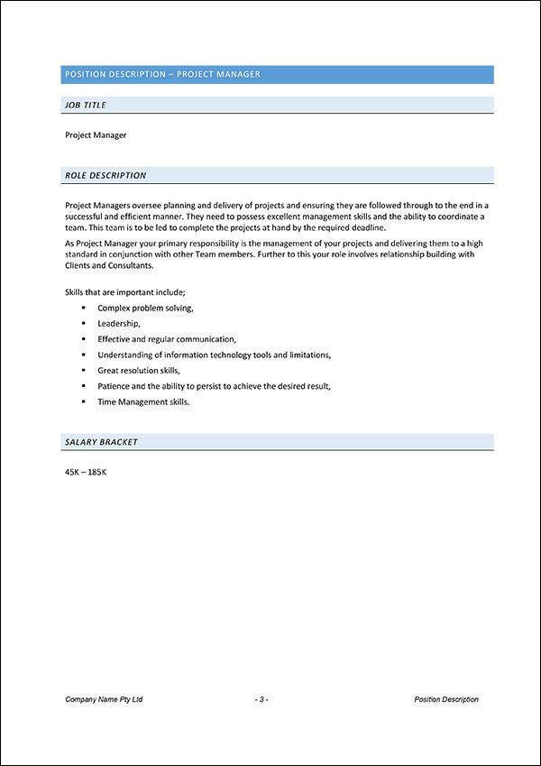 Project Manager Position Description Introduction