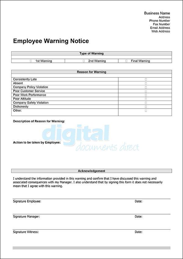 Employee Warning Notice Template