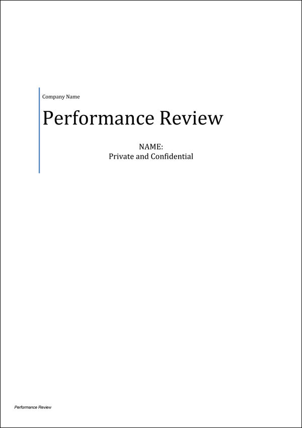 Performance Review Template Cover Page