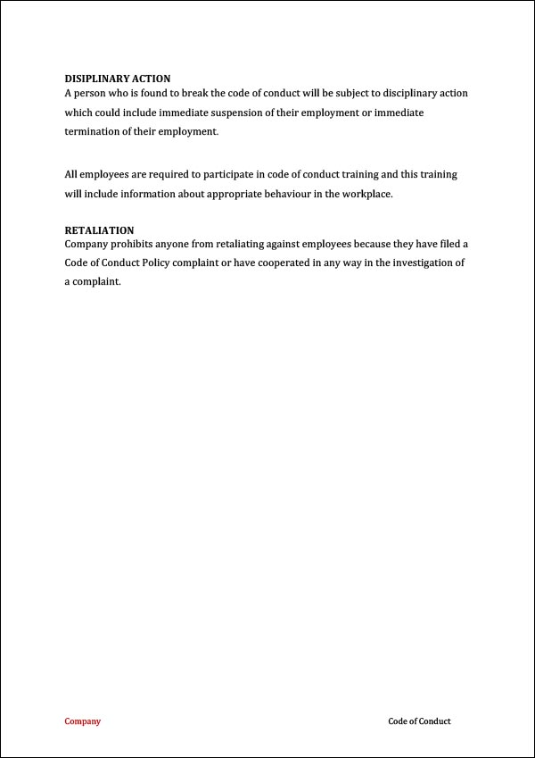Image of Employee Code of Conduct Template