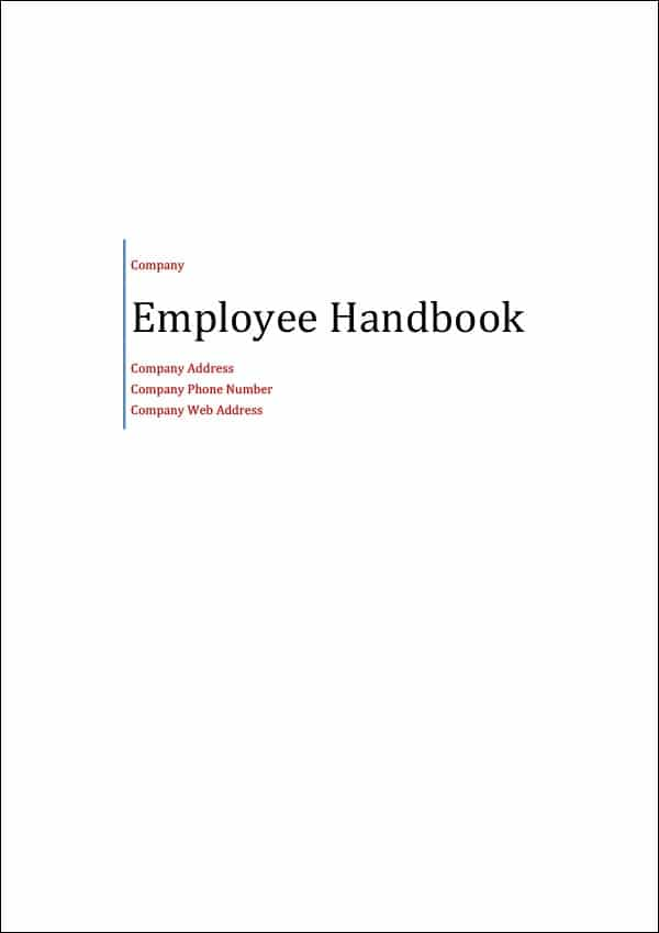 Image of Employee Handbook Template Title page