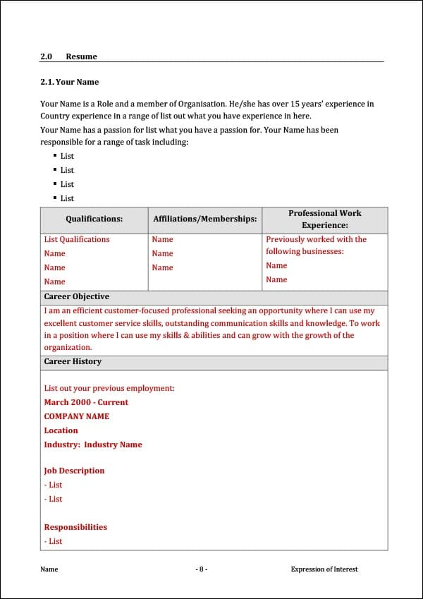 Image of Expression of Interest for Job Resume