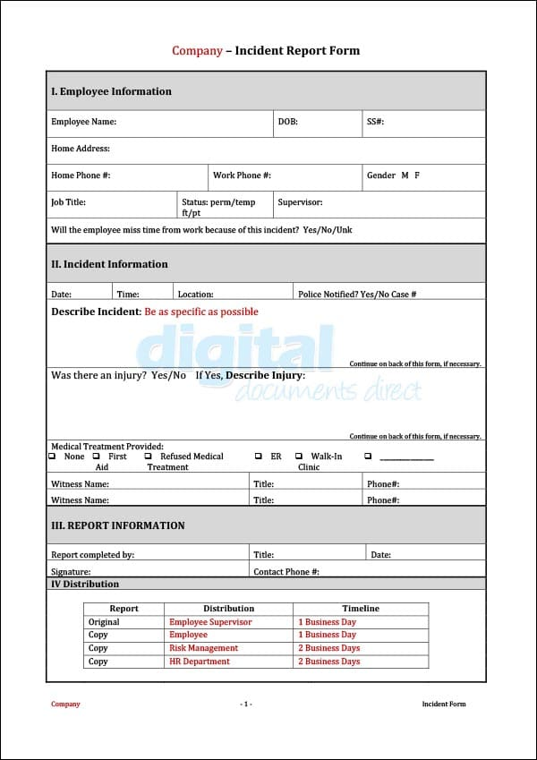 Image of Incident Form Template