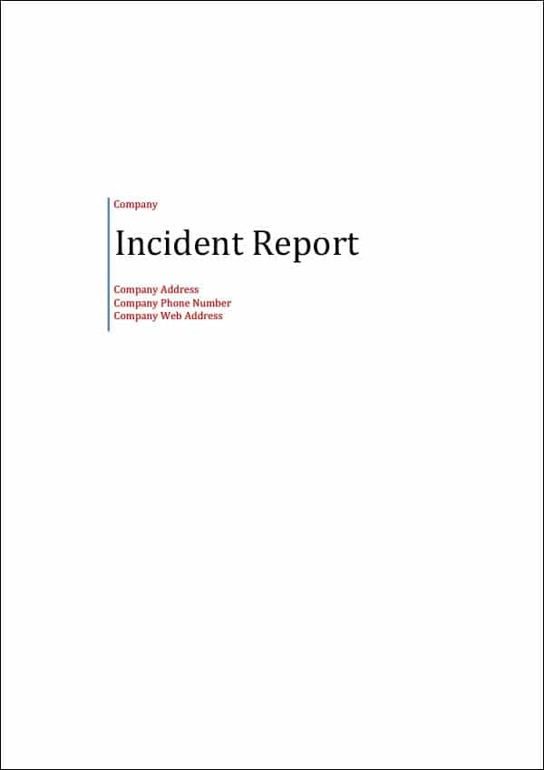 Image of Incident Report Template Titlepage