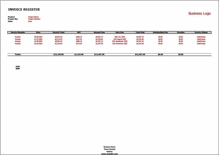 Image of Invoice Register Template