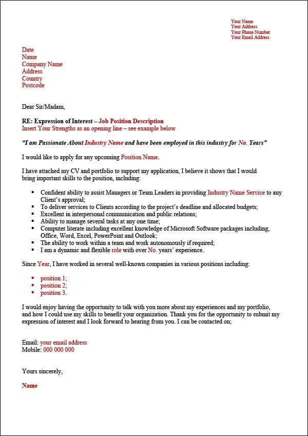 Expression Of Interest Letter For A Job from www.digitaldocumentsdirect.com