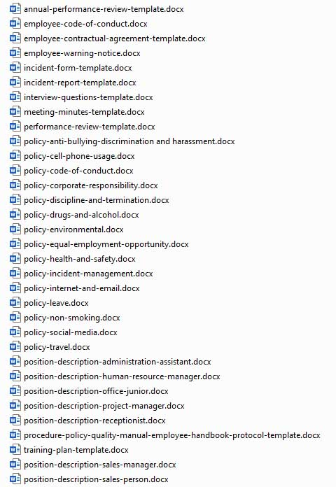 List of Included Documents
