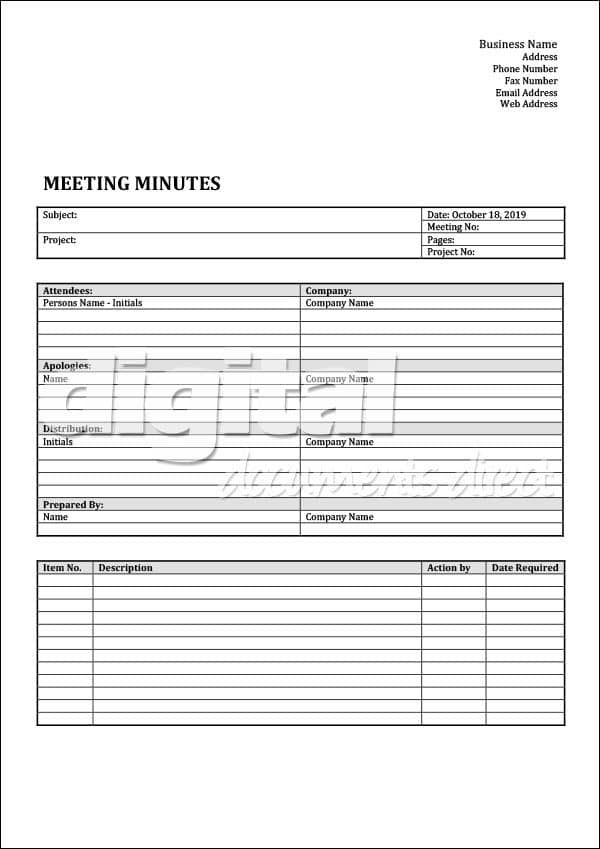 Image of Meeting Minutes Template