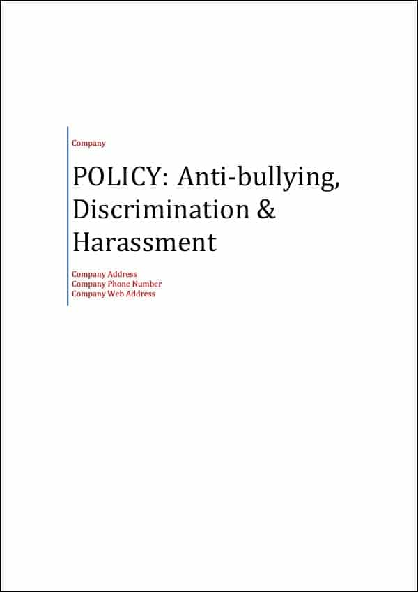 Policy Anti Bullying Discrimination and Harassment Cover Page