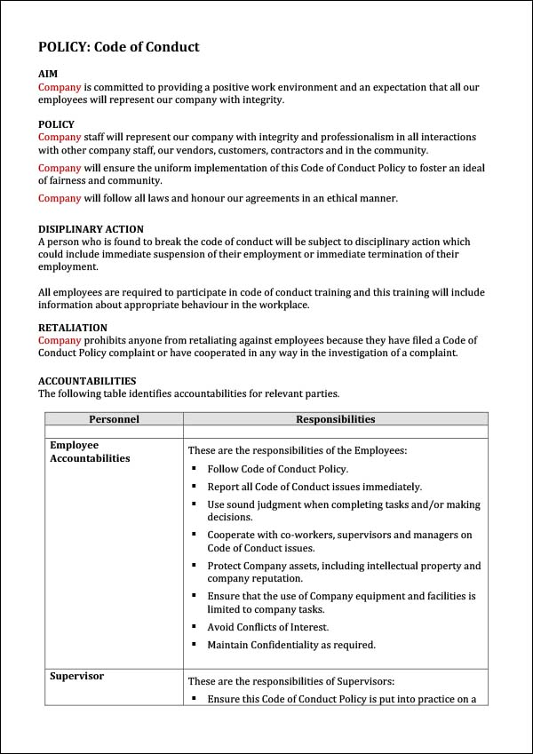 Code Of Conduct Template Word Archives Digital Documents
