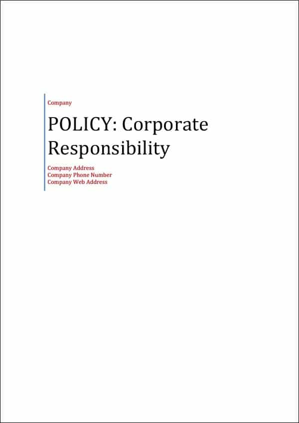 Policy Corporate Responsibility Cover Page