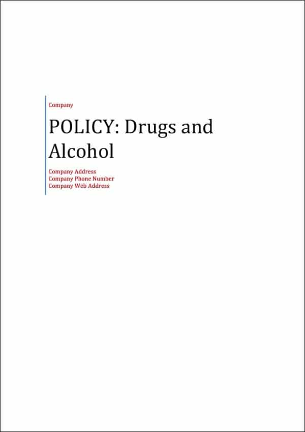 Policy Drugs and Alcohol Cover Page