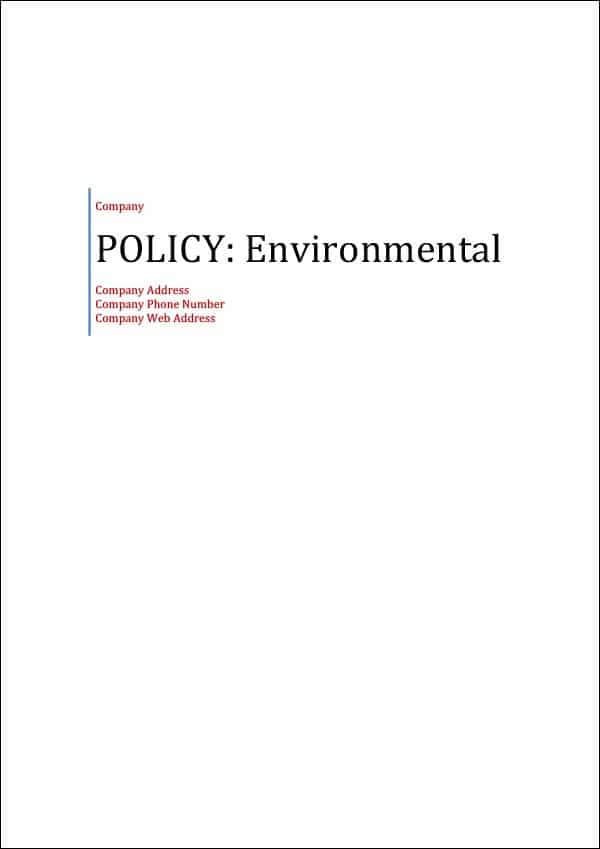 Policy Environmental Cover Page