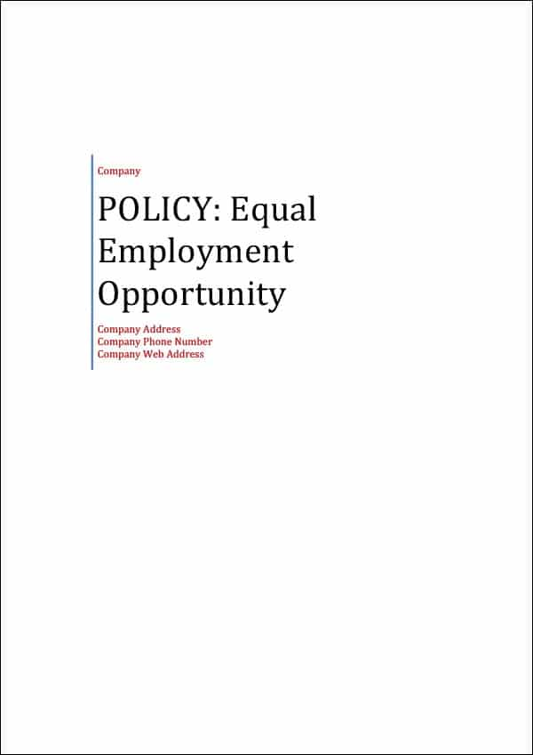 Policy Equal Employment Opportunity Cover Page