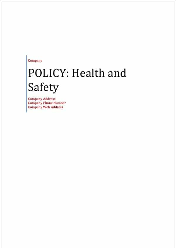 Policy Health and Safety Cover Page