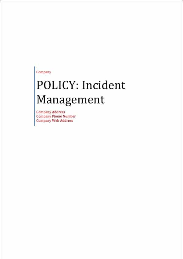 Policy Incident Management Cover Page