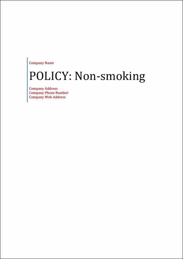 Policy Non-Smoking Cover Page