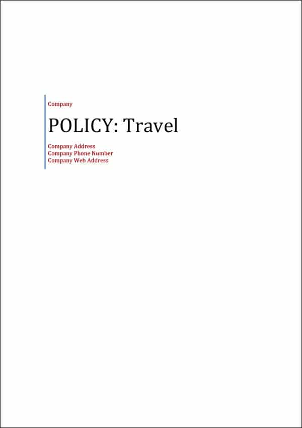 Policy Travel Cover Page