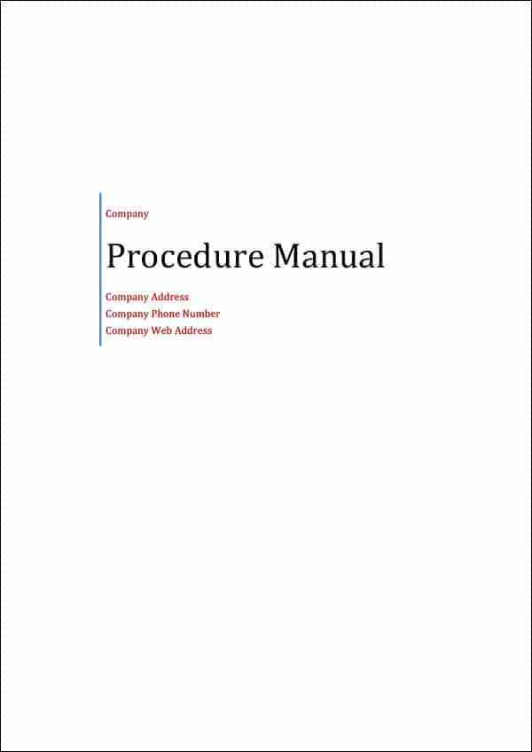 Image of Procedure Manual Template Title Page