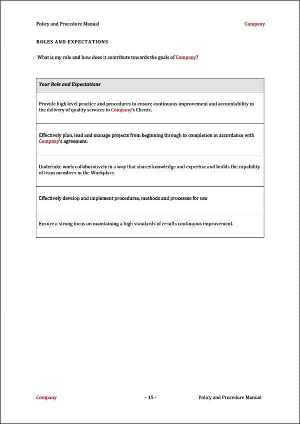 Procedure Manual Template Your Role