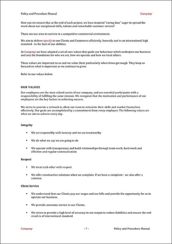 Procedure Manual Template Business Values