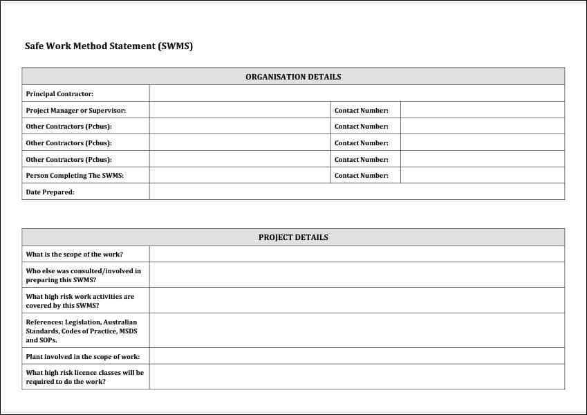 Image of Safe Work Method Statement Template Page One Details