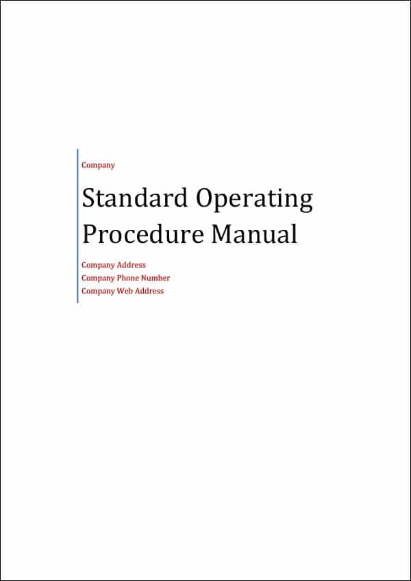 Image of Standard Operating Procedure Manual Template Title Page