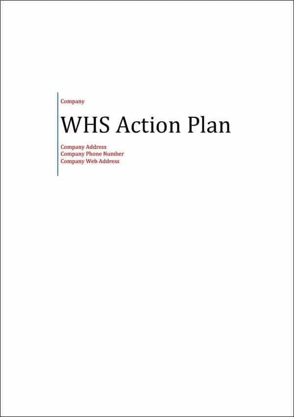 WHS Action Plan Template Cover Page