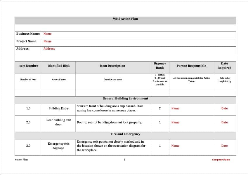 WHS Action Plan Template Example