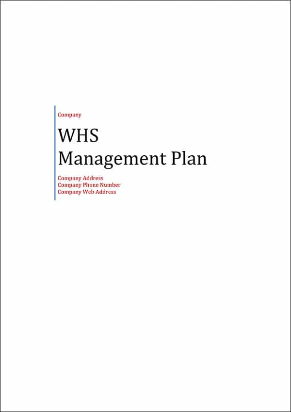WHS Management Plan Template Cover Page