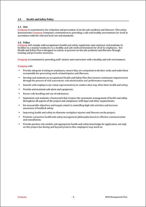 WHS Management Plan Template Introduction
