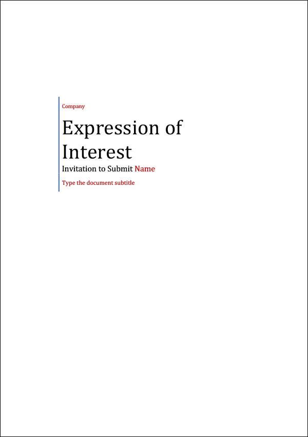 Image of Expression of Interest Request Template Cover Page