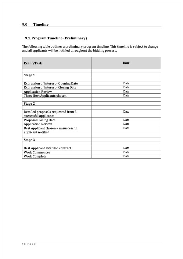 Expression of Interest Request Template
