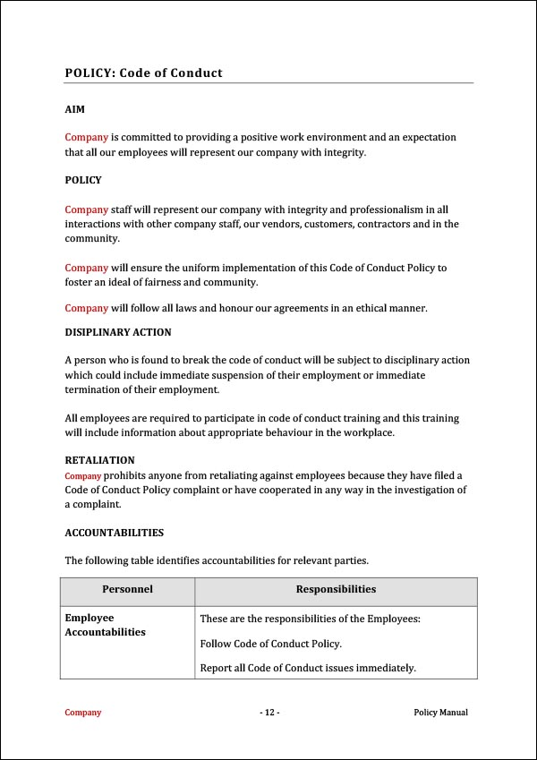 Image of Policy Manual Template Policy Example