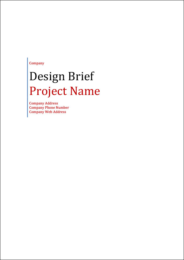 Image of Design Brief Template Cover Page