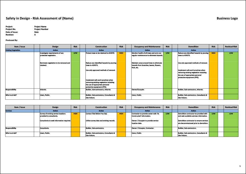 Safety in Design Risk Assessment Matrix Template