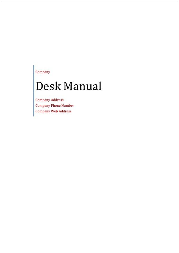 Image of Desk Manual Template Desk Manual Template Title Page