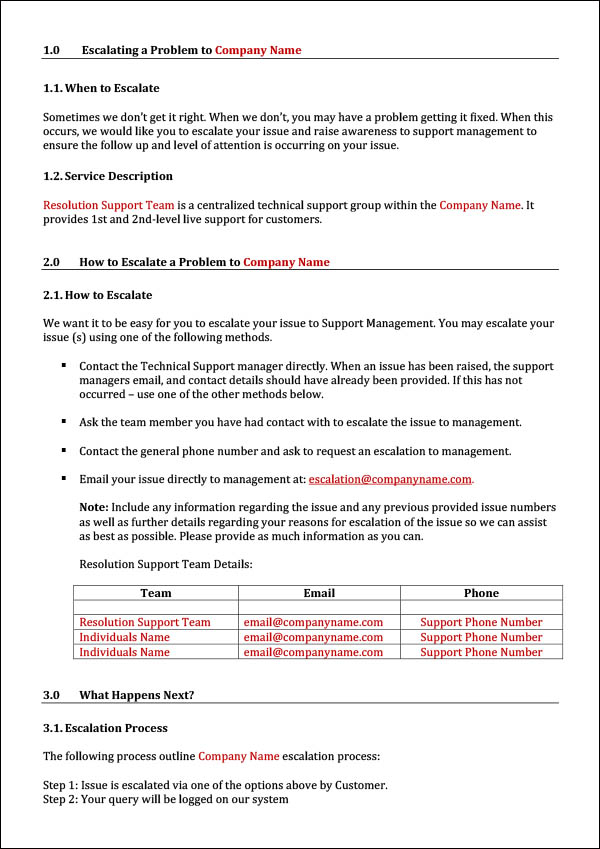 Image of Customer Service Escalation Process Template - Section 1 to 3