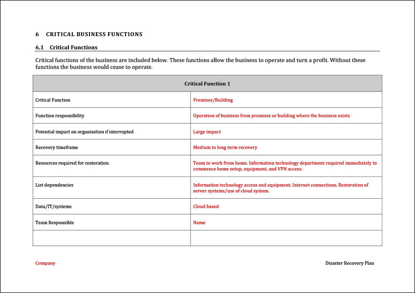 Business Disaster Recovery Plan Template from www.digitaldocumentsdirect.com