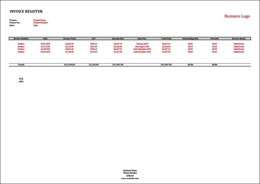 Invoice Register Template Track Your Invoices Accurately
