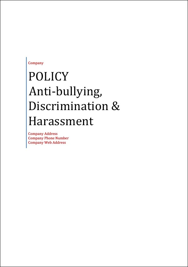 Image of Anti-bullying Discrimination and Harassment Policy Template Cover Page