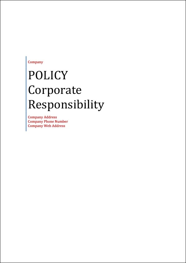 Image of Corporate Responsibility Policy Template Cover Page