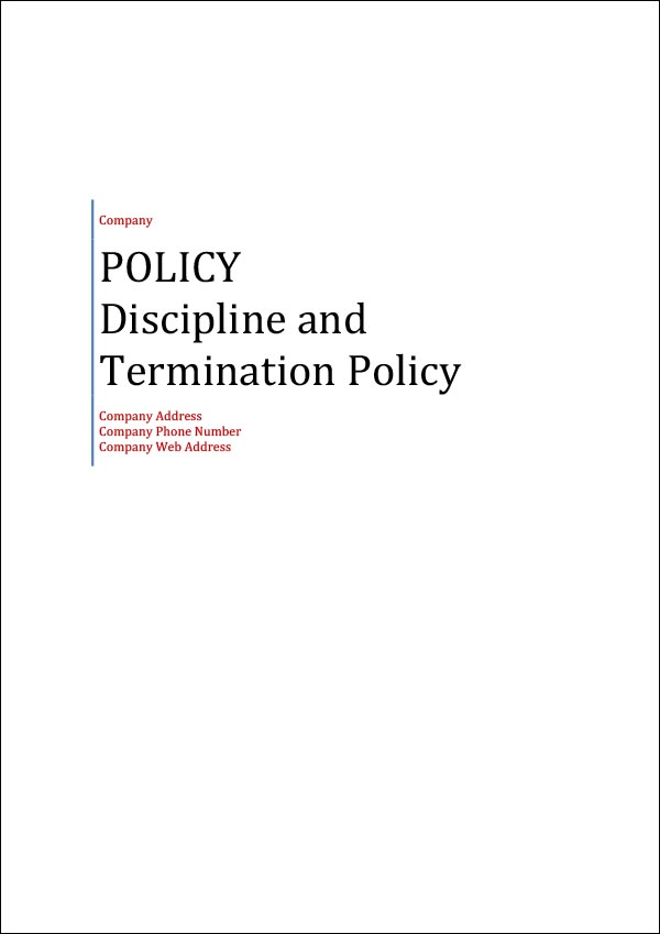 Image of Discipline and Termination Policy Template Cover Page