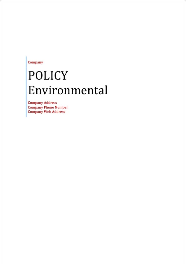 Image of Environmental Policy Template Cover Page