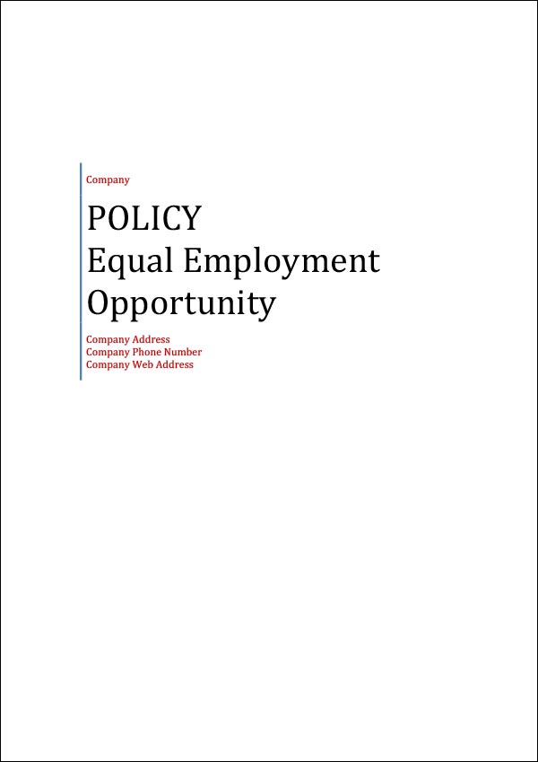 Image of Equal Employment Opportunity Policy Template Cover Page